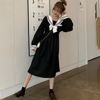 japanese college style sweet girl dress harajuku loose oversize navy collar long sleeve midi sailor dresses for women 2021 fall