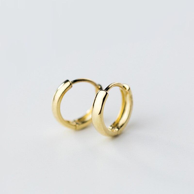Pendientes pequeños Huggie de Plata de Ley 925 para hombre, Pendientes chapados en Color dorado a la moda para mujeres y niñas, joyería Brincos