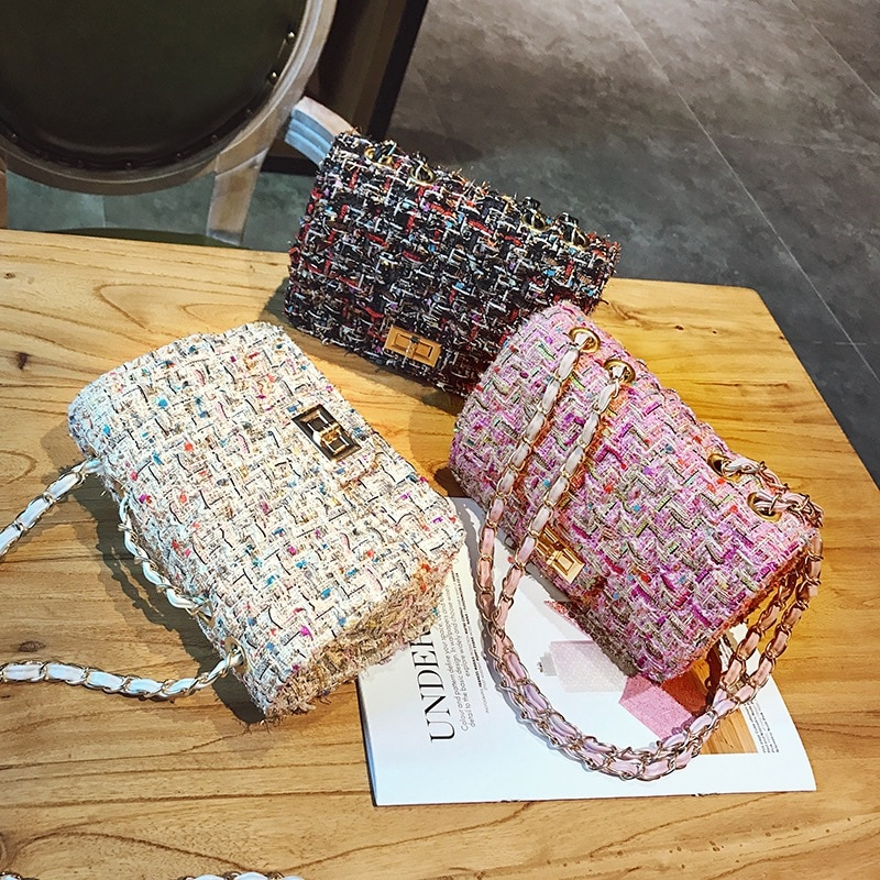 Luxury Brand Women For Bag Fashion Chain Shoulder Messenger Bag Mini Lock Designer Handbag Female Flip Small Square bags Clutch