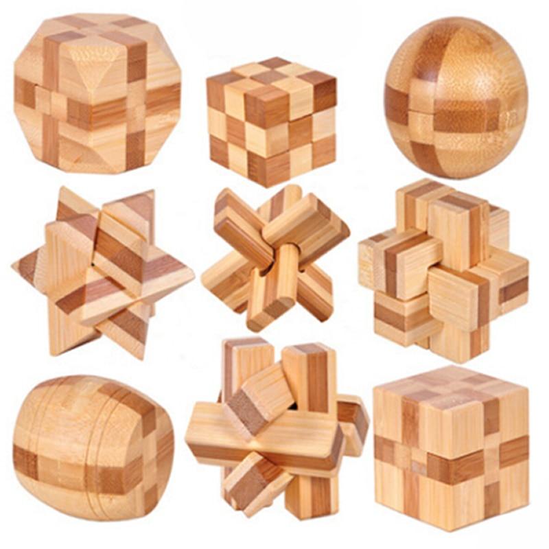 ¡Nuevo diseño 2020! Rompecabezas Kong Ming Lock 3D de madera entrelazada, juego de rompecabezas de juguete para niños y adultos MU881940