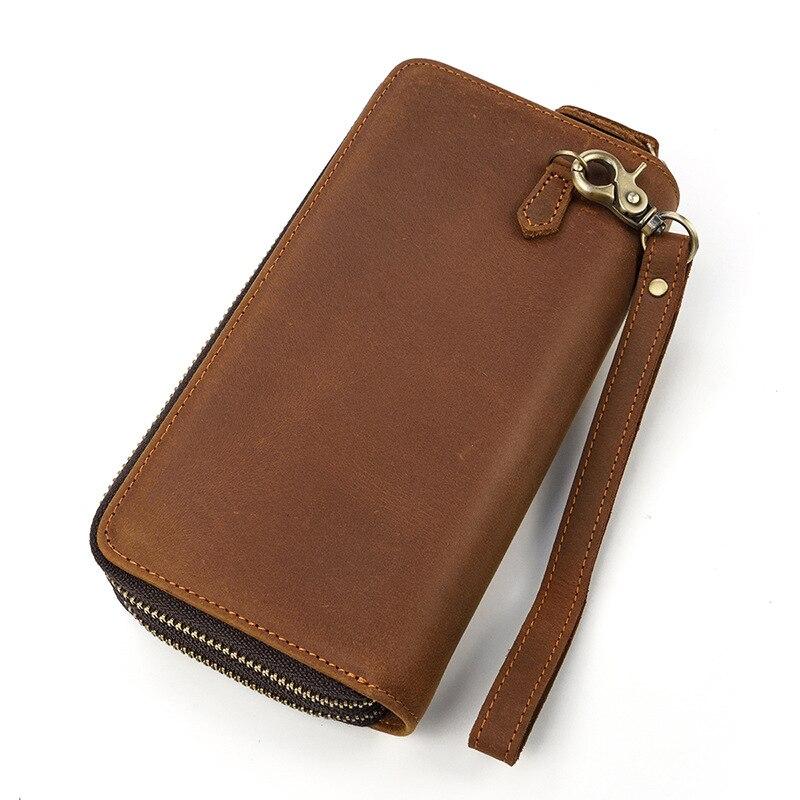 Cartera larga de cuero para hombre, cartera con doble cremallera, cartera Extra grande