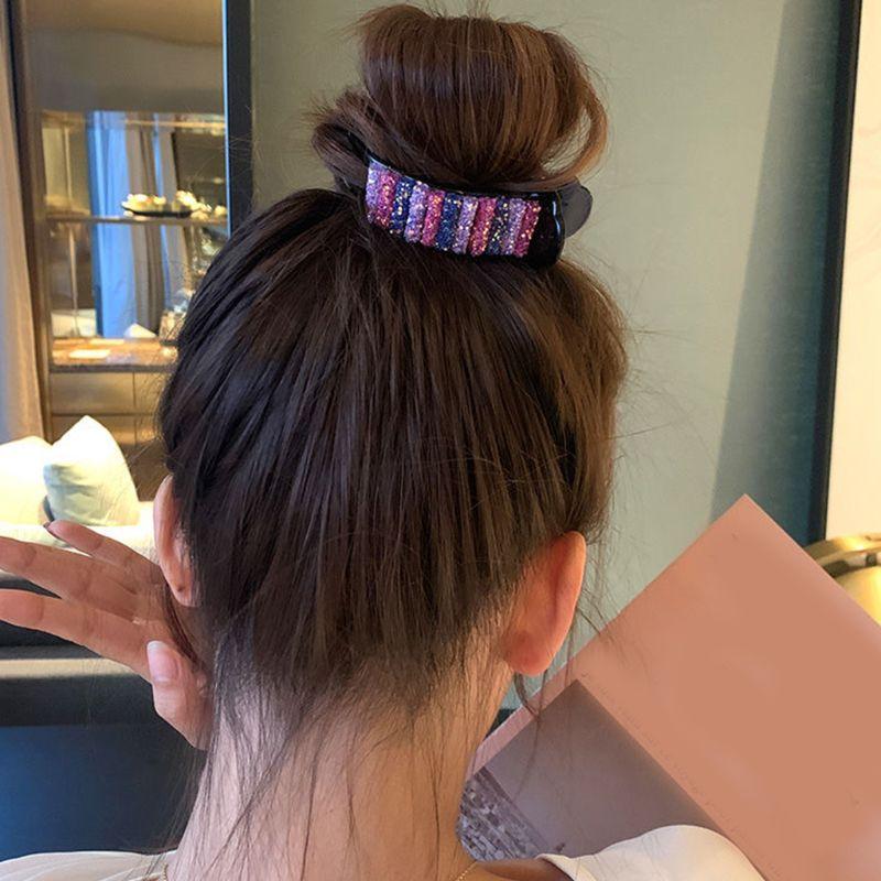 Arco-íris lantejoulas grande garra de cabelo feminino slide bun rabo de cavalo titular clipe barrettes 50jb