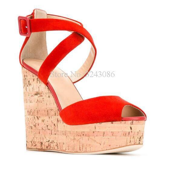 Sandalias de plataforma de cuña con correa cruzada de gamuza roja para mujer Zapatos de tacón de cuña de grano de madera de Punta abierta para mujer de gran tamaño
