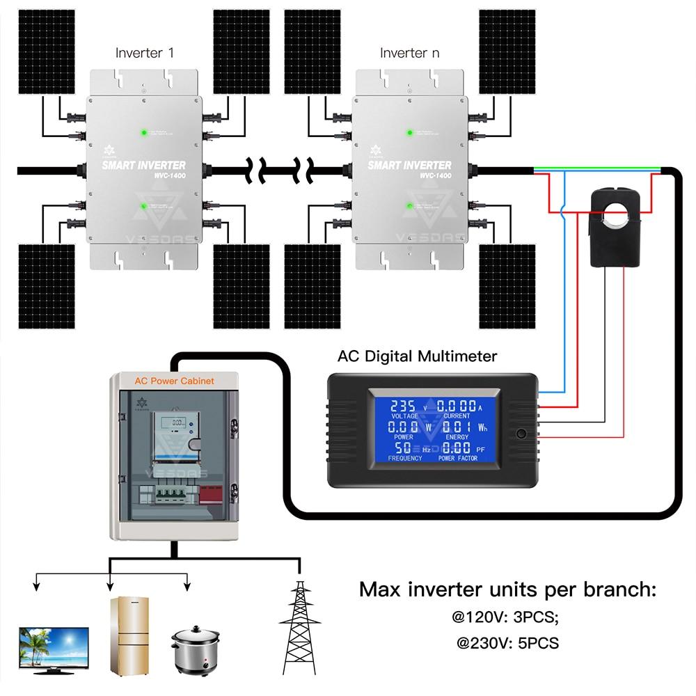 IP65 on Grid Tie Inverter 1200W MPPT Smart Micro Solar inverter pure sine wave inverter Board DC 22-50V to 80-260VAC for Solar