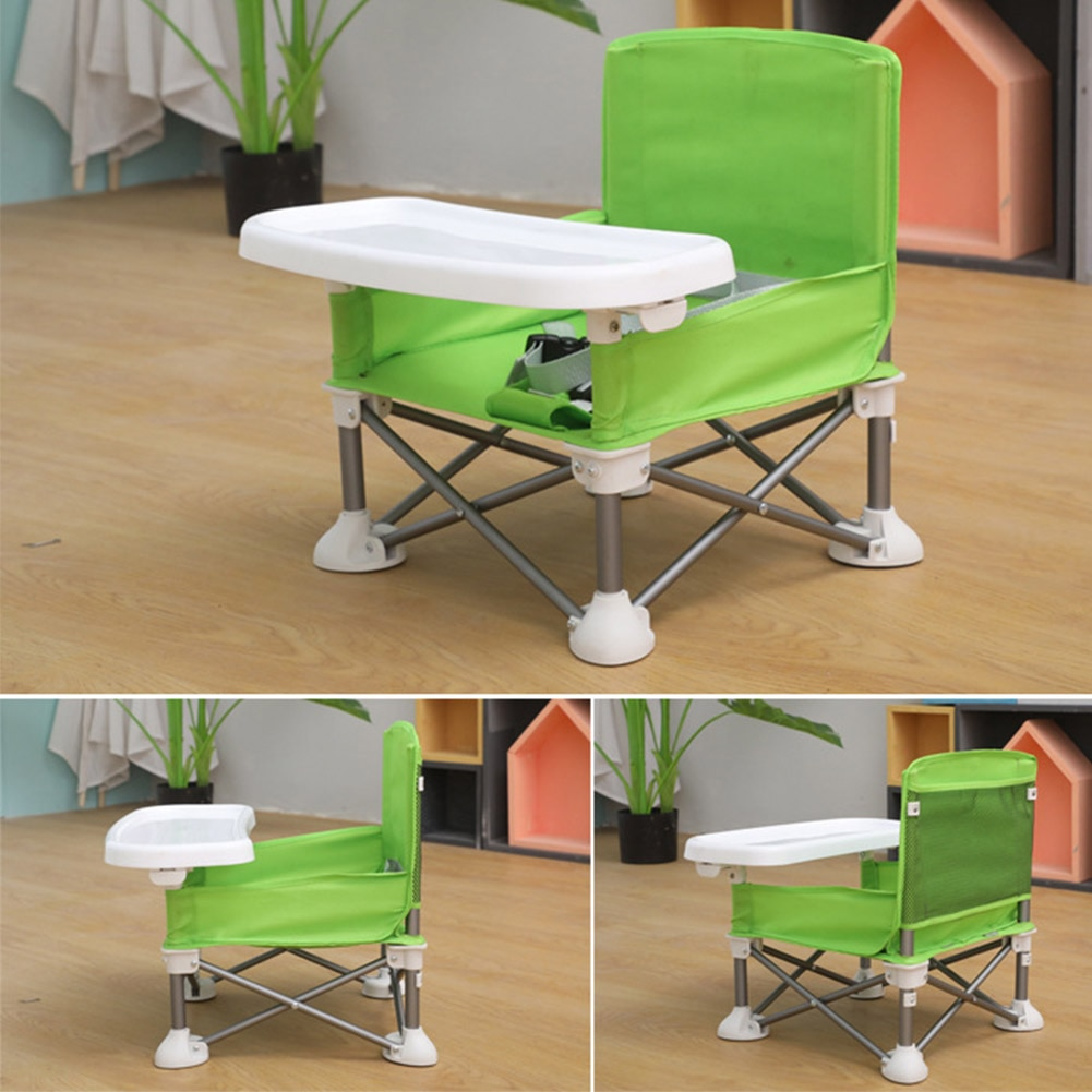 Eating Portable Foldable Baby Aluminum Alloy Beach With Tray Lawn Children Dining Chair Camping Travel Adjustable Strap