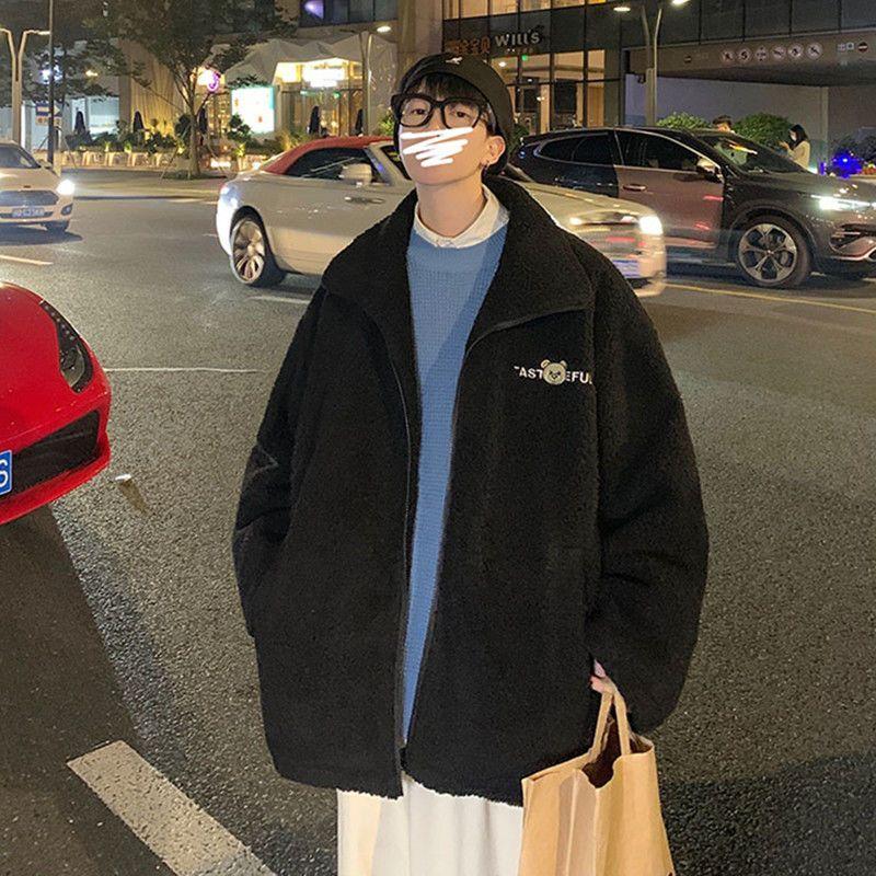 Бархатные пальто из ягненка, мужские зимние толстые куртки в гонконгском стиле, флисовые свободные парные куртки, корейский модный трендов...