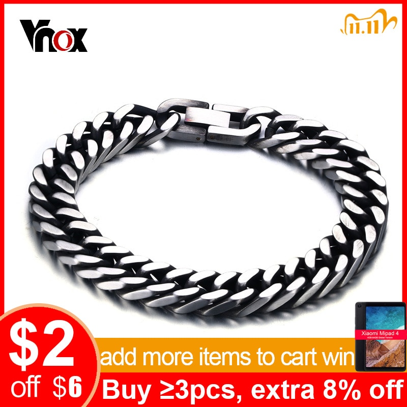 Vnox Stijlvolle Mannen Armbanden Met Retro Tone Rvs Link Chain 8 Inch Mannelijke Pols Sieraden
