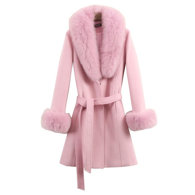 معطف نسائي من الصوف لخريف وشتاء ، عصري ، ياقة فرو ، منتصف طويل ، ملابس خارجية نحيفة ، مقاس كبير ، وردي ، أحمر ، ملابس نسائية