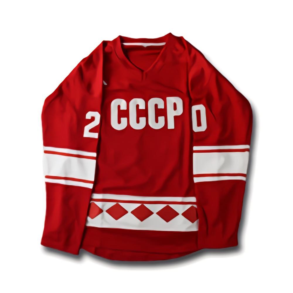 قميص هوكي الجليد Tpetbrk #20 Cccp, قميص هوكي الجليد للرجال Tpetbrk #20 Cccp قميص هوكي أحمر