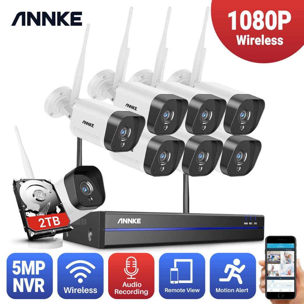 ANNKE 8CH 1080P FHD واي فاي اللاسلكية NVR CCTV نظام 4 قطعة IP كاميرا واي فاي في الهواء الطلق للماء CCTV الأمن كاميرا مراقبة أطقم