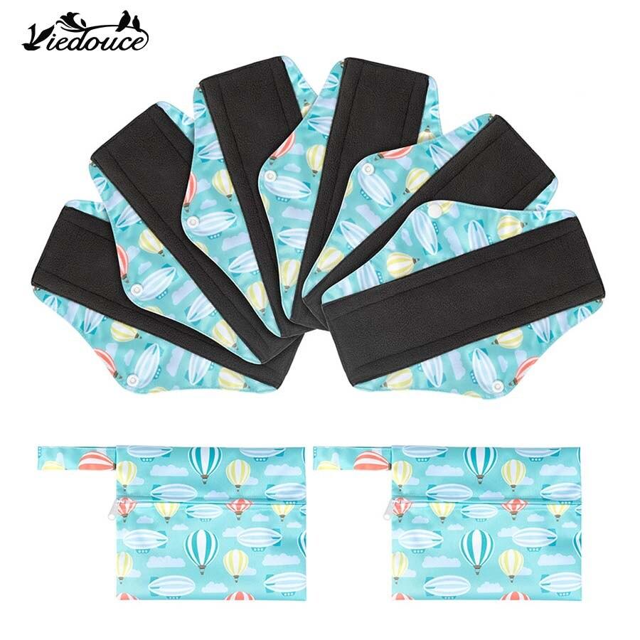 6 PCS Viedouce reusable washable bamboo charcoal maternal sanitary pad women girls menstrual cloth sanitary pads napkins bag