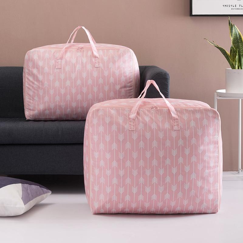 Estilo nórdico bolsas de almacenamiento plegables impermeables manta acolchada bolsa de ropa de gran tamaño Oxford tela de viaje bolsa organizadora de equipaje
