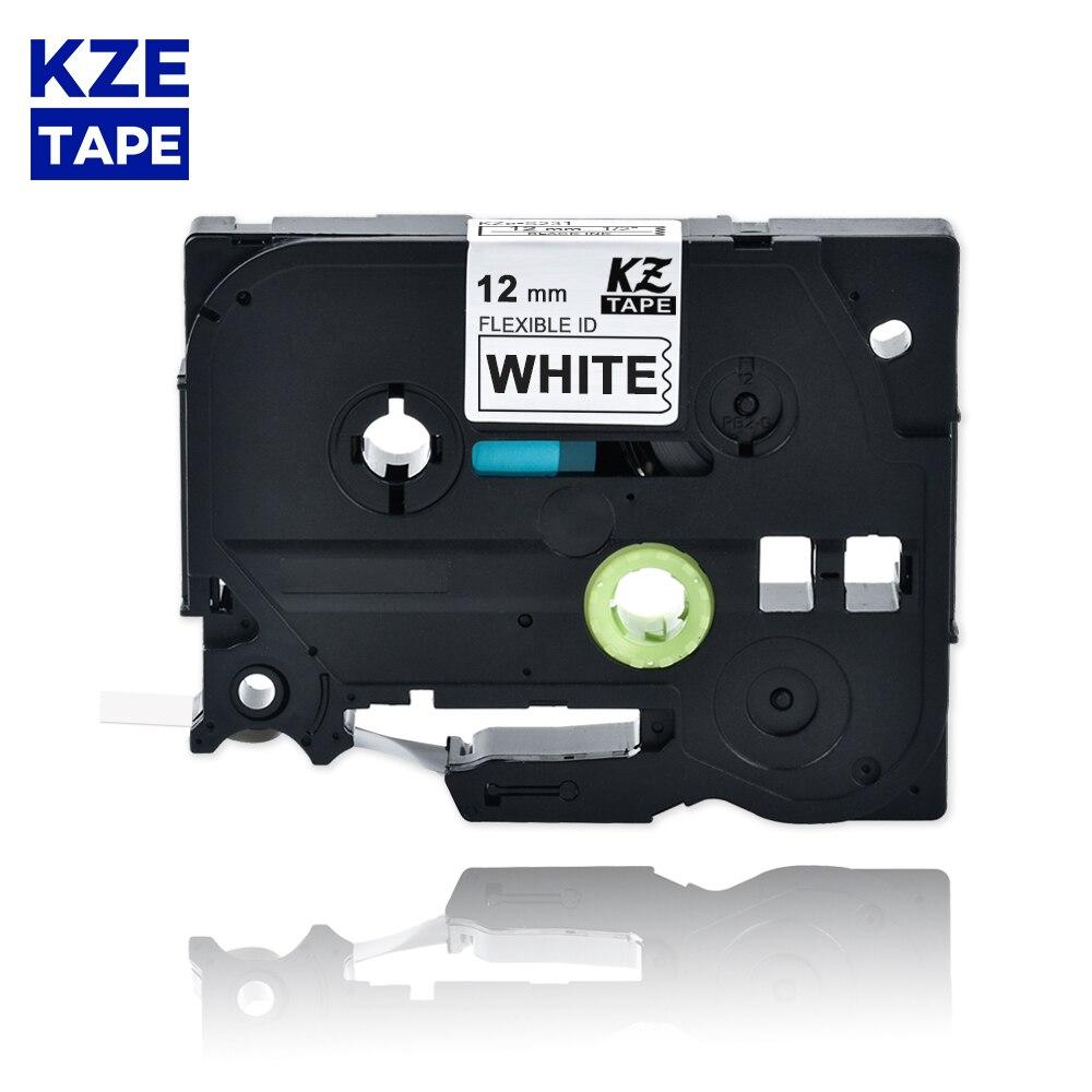 o preto flexivel da etiqueta de 12mm tze fx231 na fita laminada branca da etiqueta