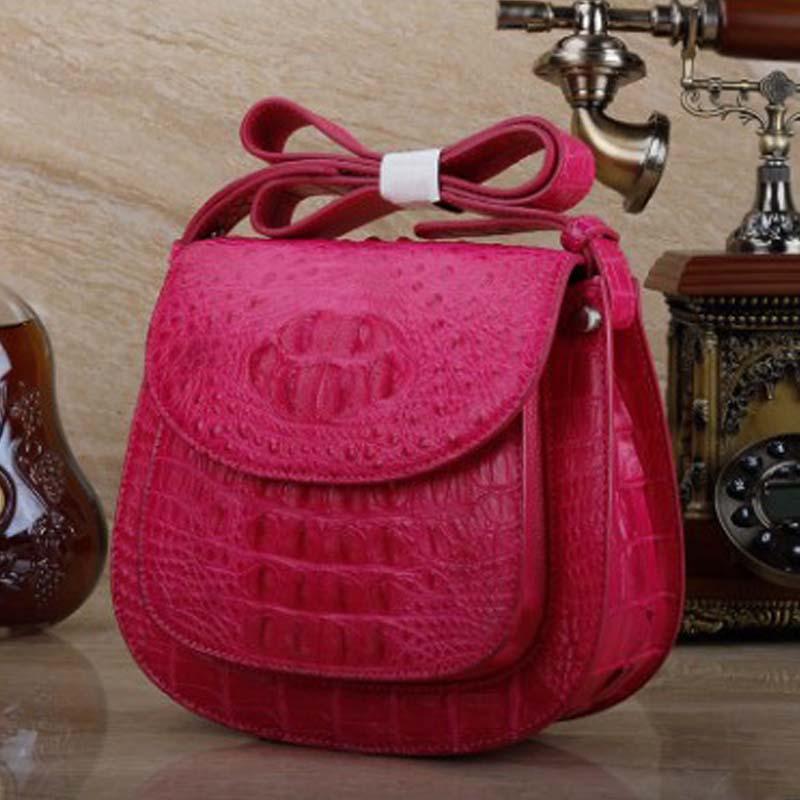 Ourui-حقيبة جلد تمساح حقيقية للنساء ، كتف عاري غير متماثل ، حقيبة دائرية صغيرة ، مجموعة جديدة
