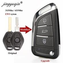Jingyuqin Geändert Flip Remote Schlüssel für BMW 1/3/5/7 Serie X3 X5 Z3 Z4 Keyless Entry Transmitter EWS System 315MHz/433MHz ID44