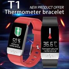 2020 Newest body temperature & ECG monitor profession T1 smart watch sport fitness tracker for men women Clock thermomete