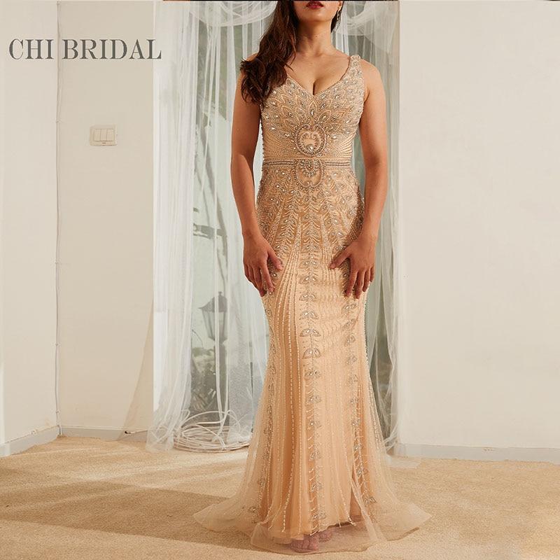 V-Neck Sleeveless Mesh Luxury Evening Dress Slim Show Perfect Curve Handmade Evening Dress Elegant Fashion Long Dress 1005001651658579 фото