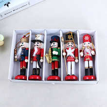 1Pcs 12cm New Year Decor Kids Doll Wooden Nutcracker Soldier Merry Christmas Decoration Pendants Ornaments for Xmas Tree Decor