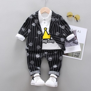 Spring New Fashion Children's Clothing Korean Version of The Crown Animal Pattern Boy Baby Infant Long-sleeve Suit 3-pieces Sets