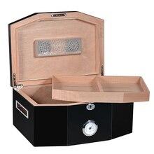 2-schichten Zigarre Schrank mit Metall Digitale Hygrometer und Luftbefeuchter Schwarz Große Zigarre Box für Club
