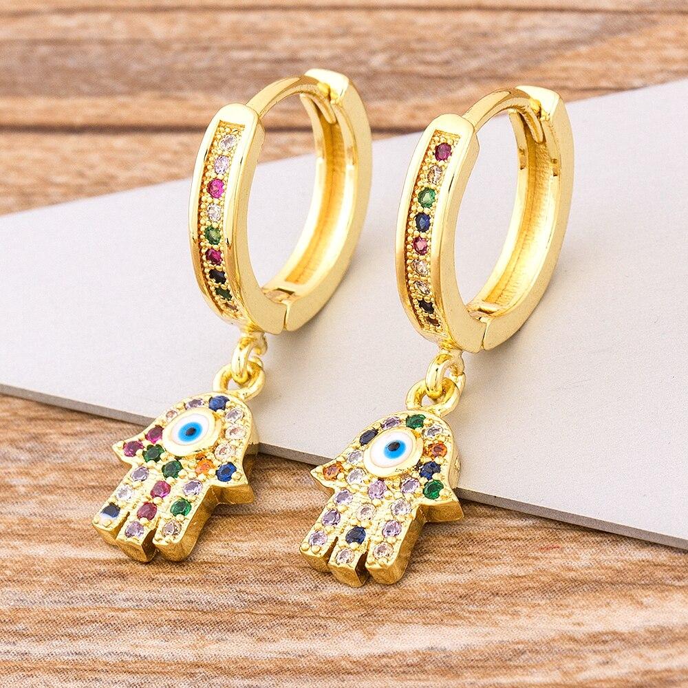 aliexpress.com - Charm Rainbow Copper Zircon Drop Earrings Fashion Palm Shape Pendant Earrings Crystal Jewelry Best New Year Gifts For Women