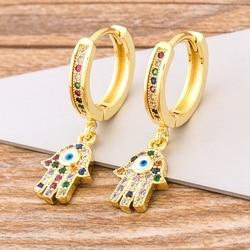 Charme arco-íris cobre zircão gota brincos moda forma de palma pingente brincos de cristal jóias melhor ano novo presentes para as mulheres