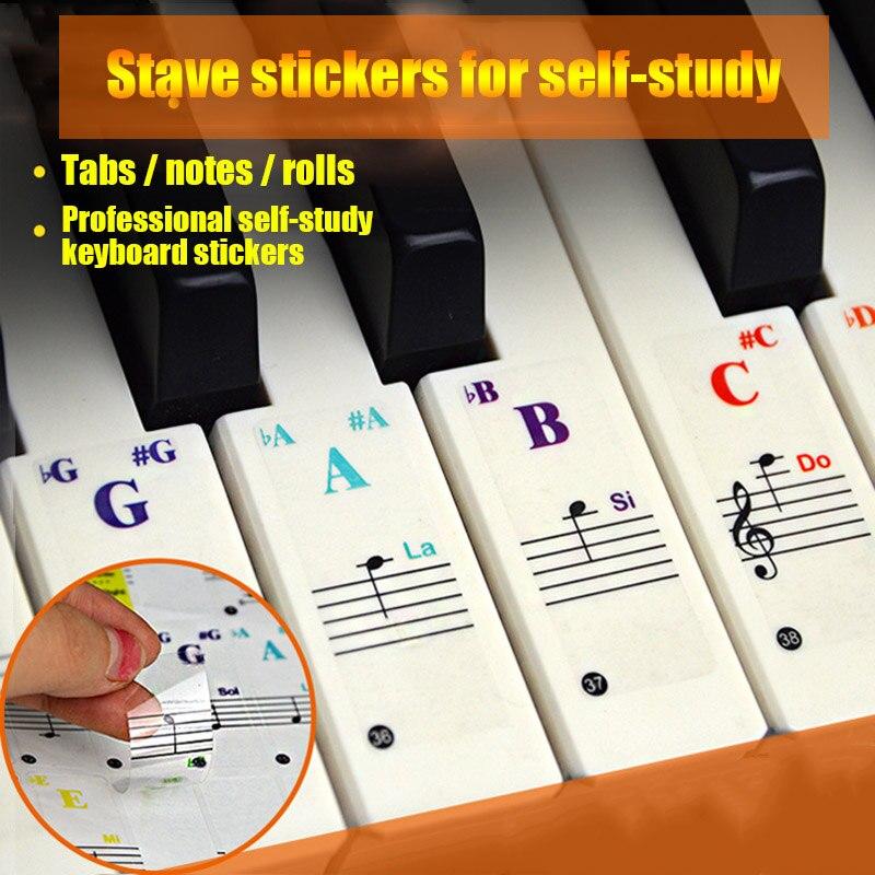 Pegatinas para Piano para las llaves de Piano transparente pegatinas teclado completo Set de pegatinas reutilizables WHShopping