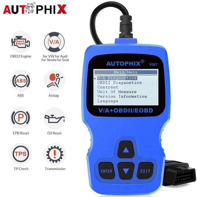 Автомобильный сканер Autophix V007 OBD2, автомобильный диагностический инструмент для Golf 4 // 5/6/7 T5 Polo Passat b5 b6 ABS EPB, инструмент для сброса масла