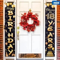birthday party accessoryhappy birthday bannercheers to 18th years bannerdoor sign banner decoration for teenager 18 years old
