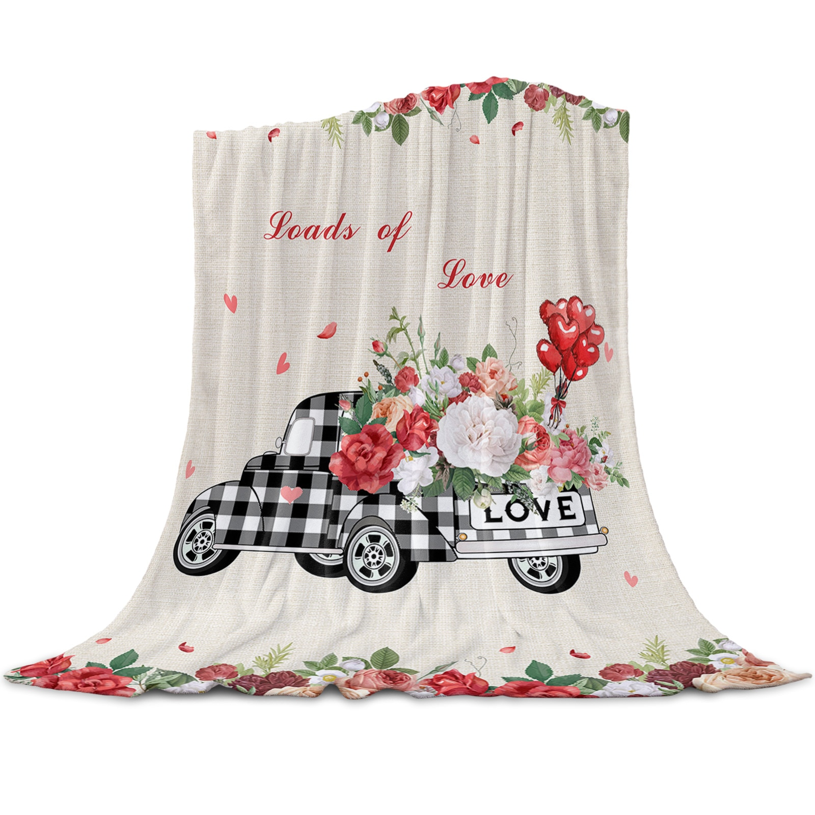 Valentine Truck Roses Throw Blanket for Beds Microfiber Flannel Warm Blanket Sofa Bedding Bedspread Gifts