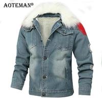 jean jacket men denim coat winter fleece warm parkas 6xl mens clothing slim fit male jeans jacket outwear windbreaker lm037