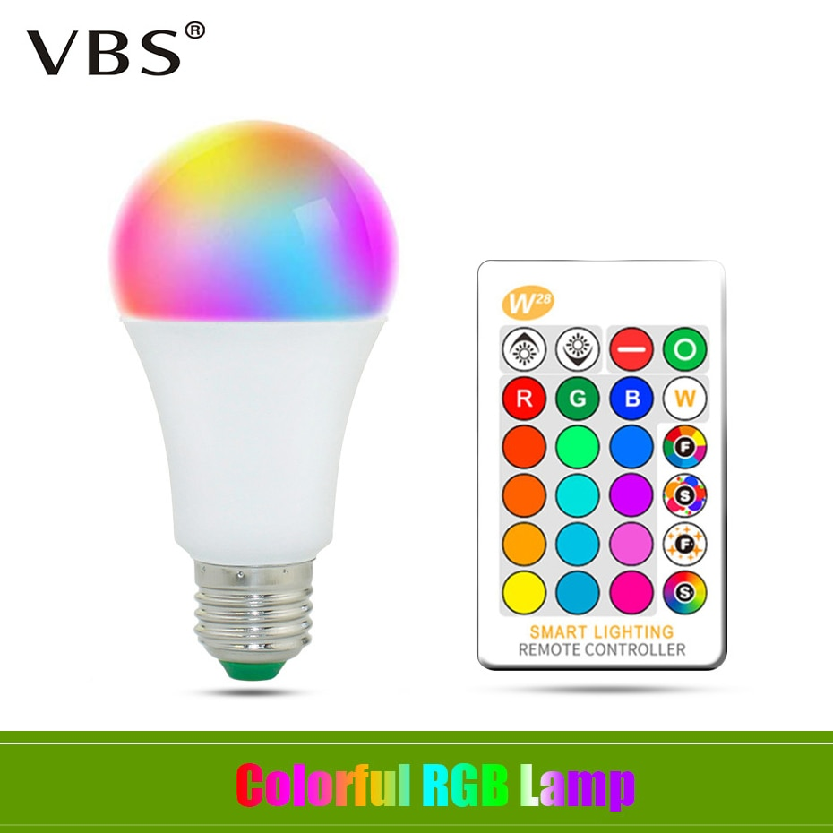 E27 LED 16 Color Changing RGB + White Magic Light Bulb Lamp AC85-265V RGB Led Light Spotlight 5W 10W 15W + IR Remote Control