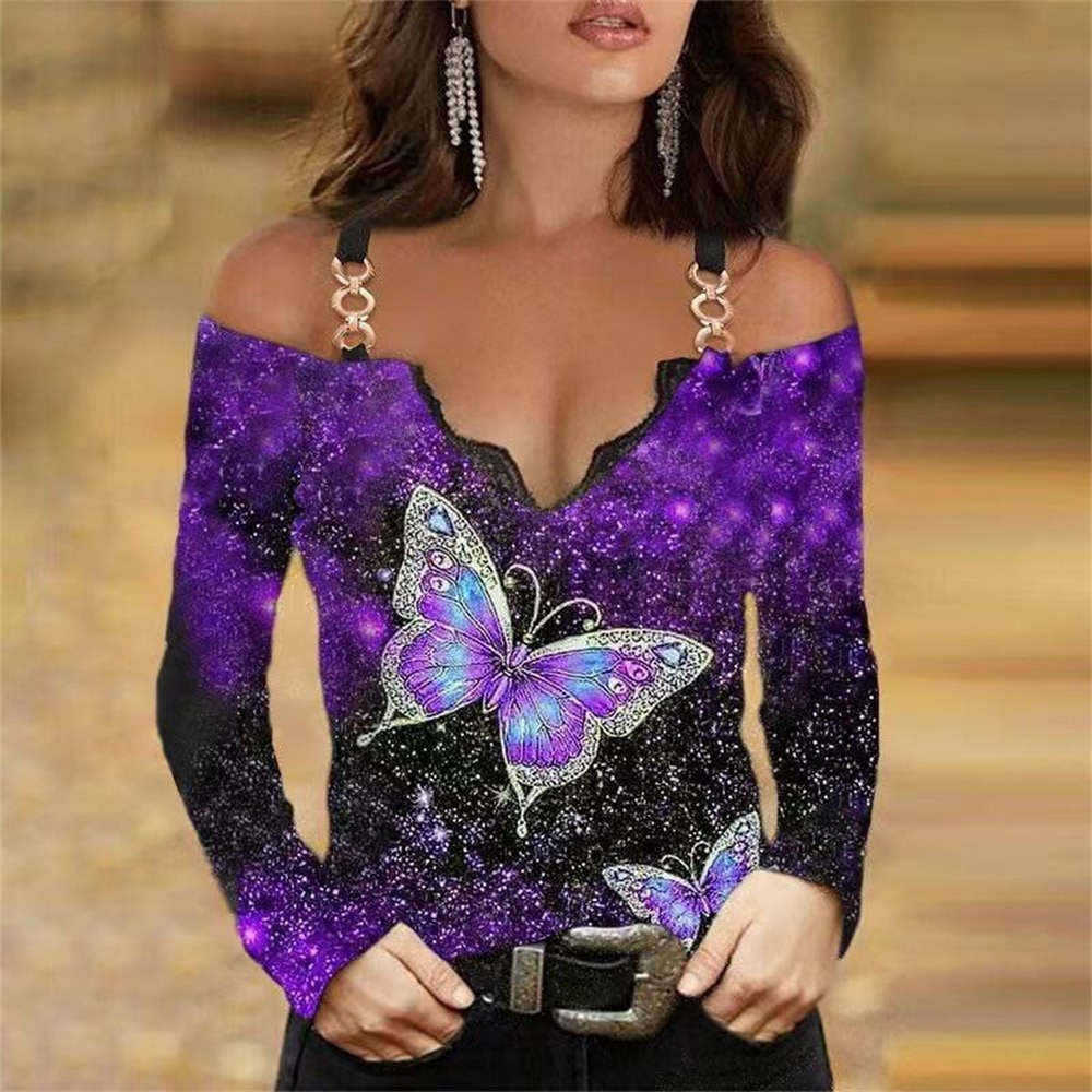Sexy Spaghetti Strap Off Shoulder V-Neck Gradient Ladies Shirt Tops Fashion Long Sleeve Butterfly Print Womens T Shirt Big Size