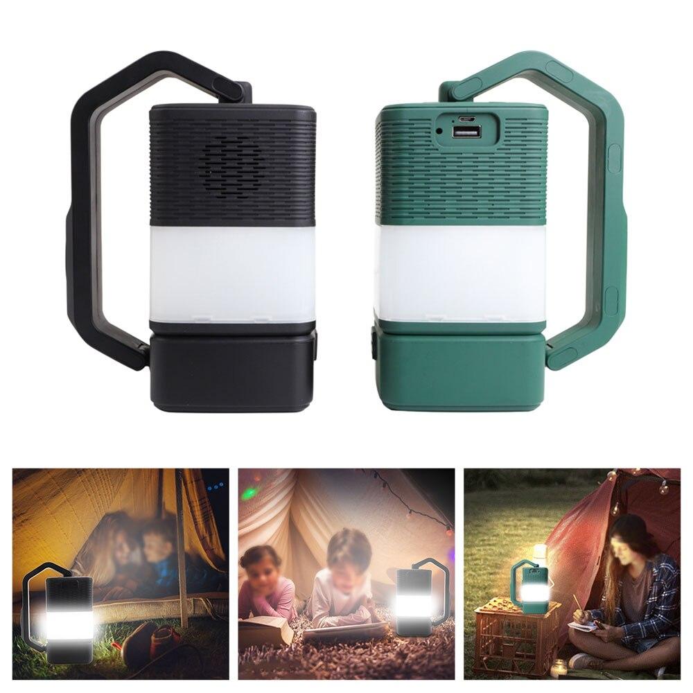 Luz de acampada 4 en 1 con Bluetooth, portátil, multiusos, carga USB,...