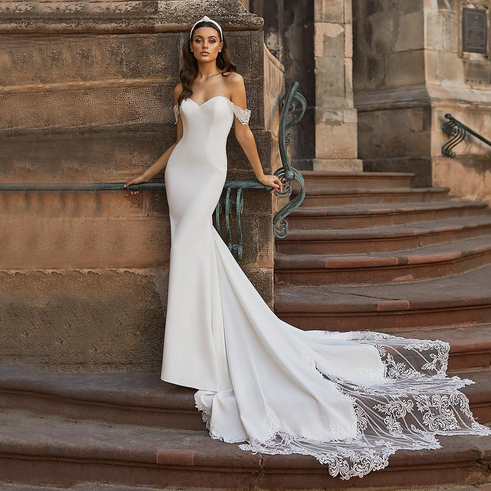 2021 جديد وصول قبالة الكتف فستان الزفاف الأبيض قطار طويل بسيط حورية البحر فستان زفاف المدني الرسمي العروس اكسسوارات السيارات 2021