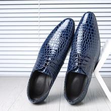 Crocodile Pattern Leather Mens Wedding Shoes Italian Luxury Dress Shoes Men Business Fashion Formal Shoes Plus Size 38-47