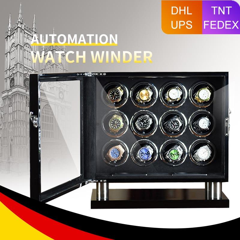 ميلانسي ساعة عالية الجودة اللفاف التلقائي 12 فتحة الساعات مع Mabuchi موتور LCD شاشة تعمل باللمس آمنة علبة ساعة خشبية