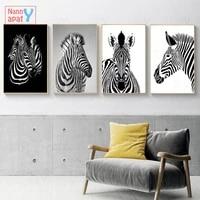 Tableau de zebre noir et blanc decor de maison  toile nordique  peinture murale imprimee  affiche danimal mignon pour salon nordique