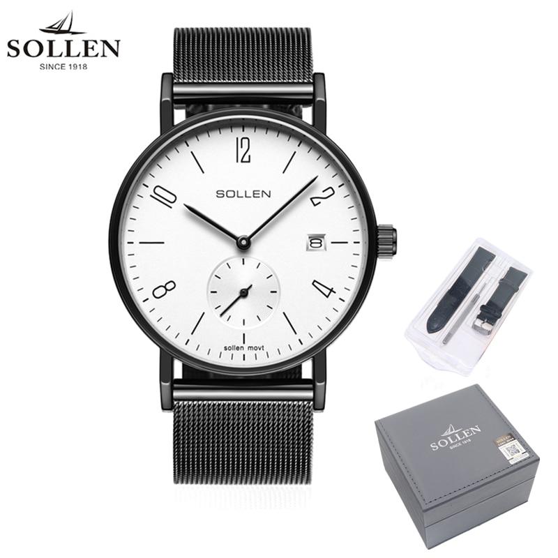 Men Watch Minimalism SOLLEN Brand Fashion Business Quartz Watches Japanese Movement Male Wristwatches Relogio Masculino 9045