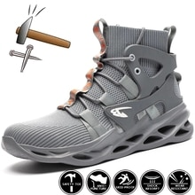 Work Safety Boots Men Steel Toe Shoes Puncture-Proof Work Boots Indestructible Safety Shoes Breathab