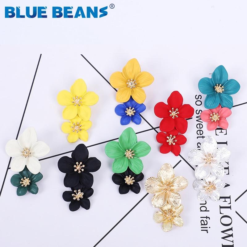 2020 New Fashion Jewelry Korean Cute flower Stud Earrings For women fresh and sweet Statement Earring Girl Bohemian Dangle