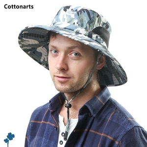 Men's Hiking Travel Shade Large Wide Brim Fishing Cap Quick Dry Waterproof Camouflage Sun Hat Summer Mesh Breathable Bucket Hats