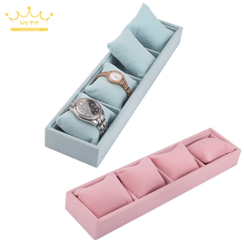 Bracelet Tray 4 Grids Jewelry Display Box Jewelry Pillow Display Prop Watches Bracelet Showcase Watch Tray ice gray bracelet watch storage box display stand dust proof glass transparent watch box display props small pillow wholesale