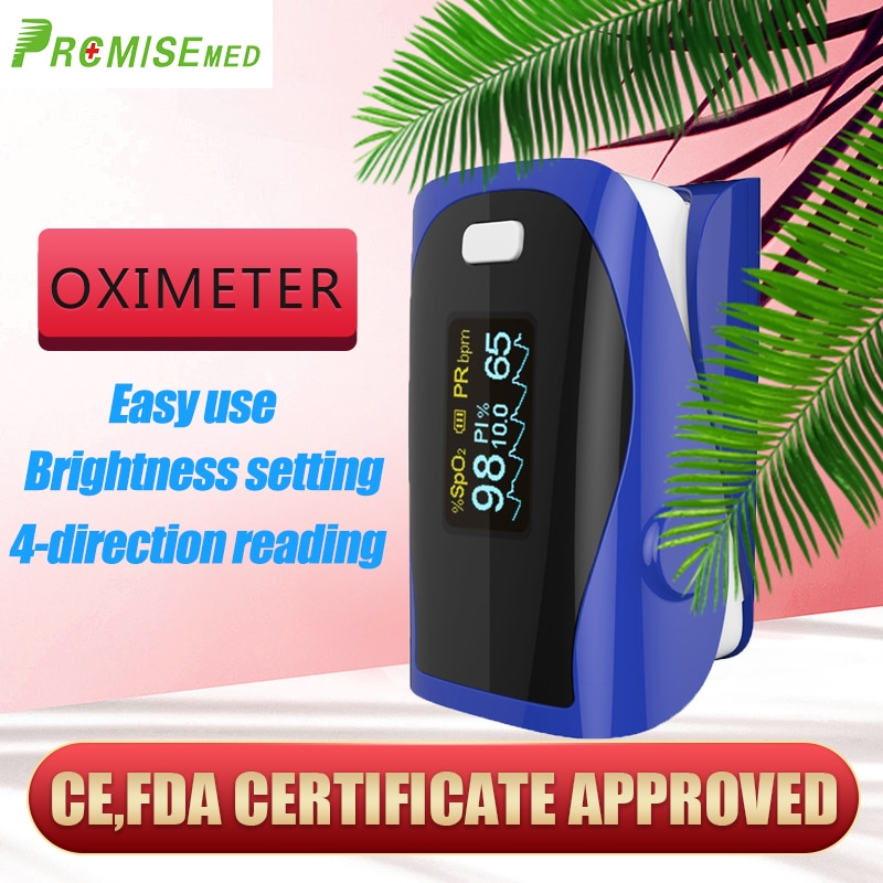 PRCMISEMED Household Health Monitors Heart Rate Monitor Finger Medical Oxygen Pulse Oximeter Finger Meter-Deep Blue