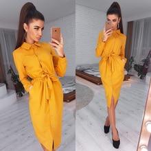 Femmes Vintage avant bouton ceintures a-ligne robe à manches longues col rabattu solide robe élégante 2020 automne mode femmes robe