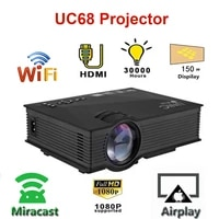 unic uc68 mini projector 1800 lumens led projectormultimedia home theatre hd 1080p better than uc46 support miracast airplay