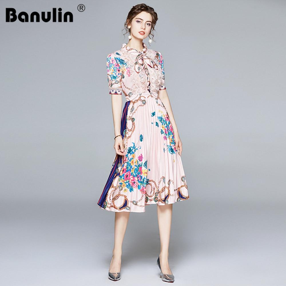 فستان نسائي صيفي أنيق من Banulin موديل 2020 بأكمام قصيرة مزين بالدانتيل ومطبوع بالورود فستان نسائي عتيق متوسط الطول