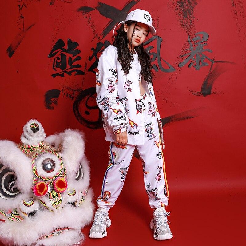 أزياء رقص الهيب هوب للأطفال ، معطف أبيض مطبوع لطيف ، بنطلون ، زي رقص في الشوارع ، ملابس أداء للأولاد والبنات 120-170