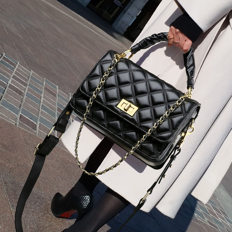 High-quality Leather 2021 New Luxury Brand Fashion High-quality Texture Ladies Cross-body Rhombic Chain Shoulder Bag Purses Gg