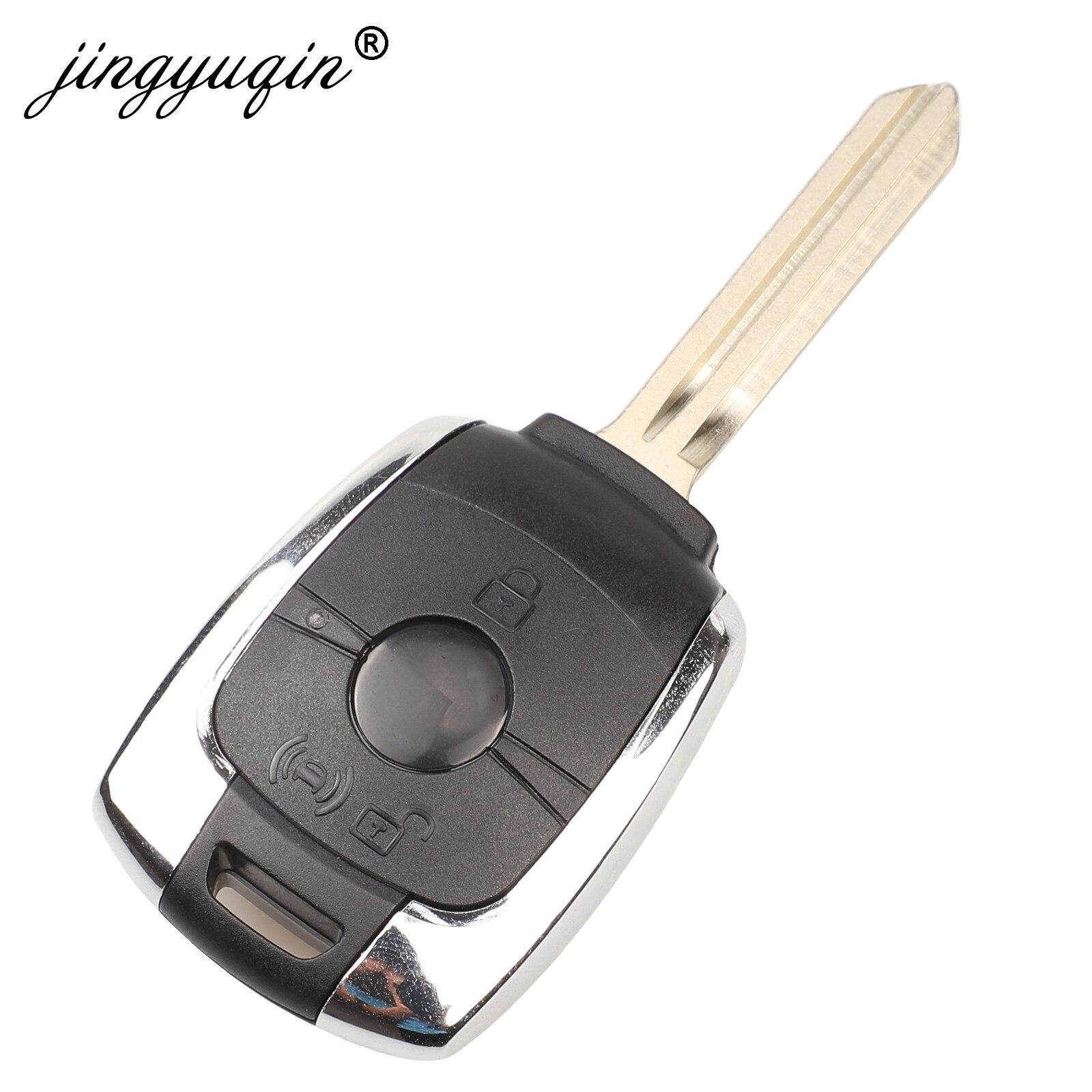 jingyuqin 2 Buttons Remote Key Shell Case Fob For Ssangyong Actyon Kyron Rexton Korando Uncut Blade car keys Cover Replacement